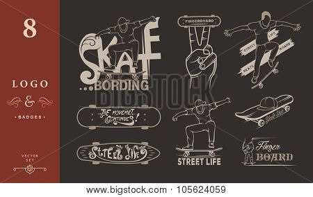 Set Of Skateboarding Emblems, Logo And Badges