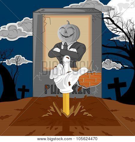 Halloween Cartoon Resurrect Pumpkin. Hand Emerging From The Graveyard.