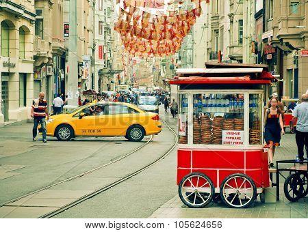 Fast Food Stall With Turkish Circular Bread Simit