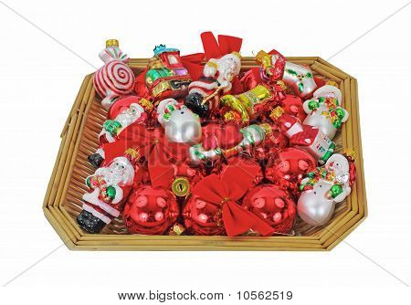 Basket Small Christmas Ornaments Overhead View