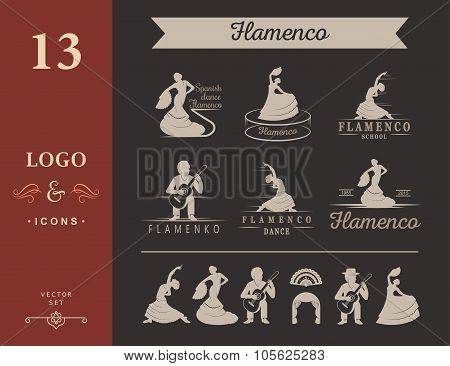 Set Of Vector Logo And Badges Flamenco