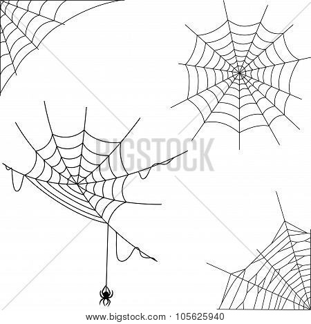 Cartoon spider web collection set