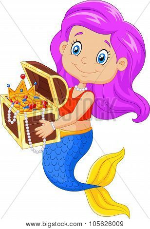 Cartoon happy mermaid holding treasure chest