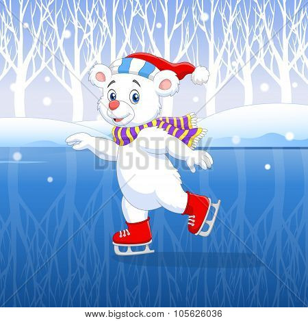 Cute cartoon polar bear ice skating with winter background