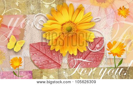 Elegance Autumnal Postcard With Beautiful Gerbera Flowers.