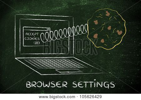 Cookies Coming Out Of Laptop Screen From A Browser