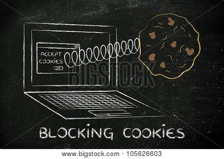 Blocking Cookies, Illustration With Cookie Coming Out A Computer