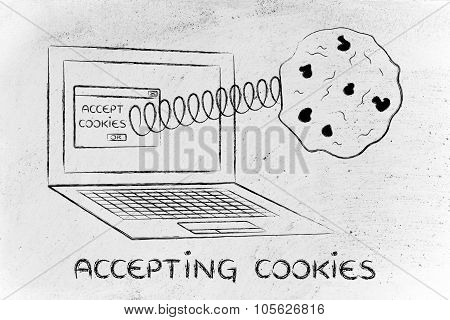 Accepting Cookies, Illustration With Cookie Coming Out A Computer