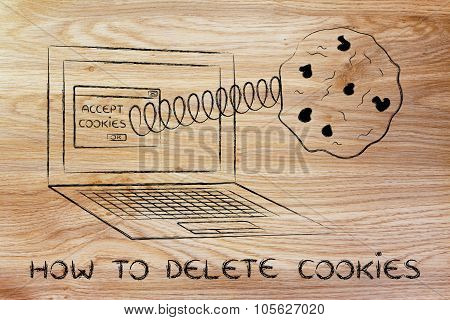 Cookies Coming Out Of Laptop Screen And Text How To Delete