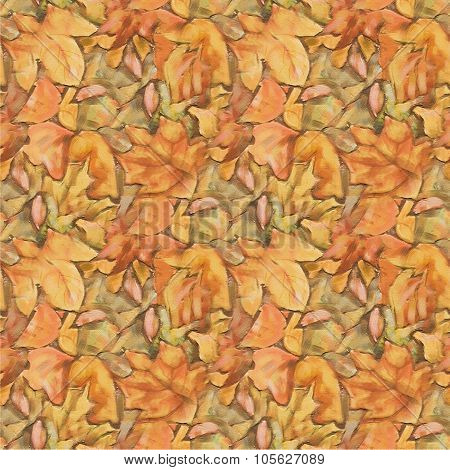 Foliage Painting Seamless Pattern. Fall Autumn Leaves Background