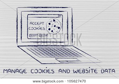Laptop With Message About Cookies And Text About Managing Website Data