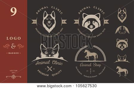 Set Of Vintage Logo For Vet Clinic