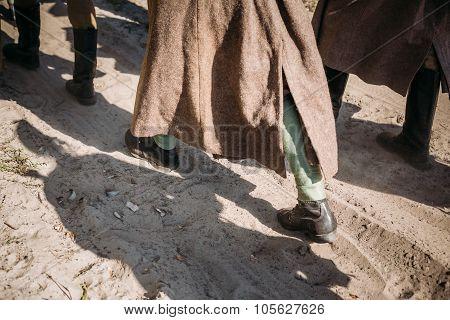Unidentified re-enactors dressed as Soviet russian soldiers goes
