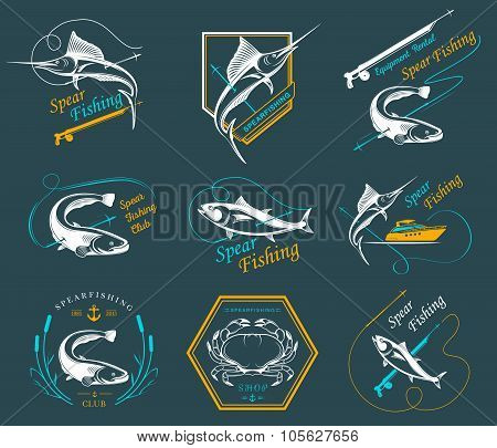 Big Set Of Logo, Badges And Icons Spearfishing