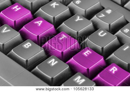 Word Hater Written With Pink Keyboard Buttons