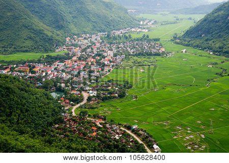 Patchwork rice field in Mai Chau, Hoa Binh province, Vietnam