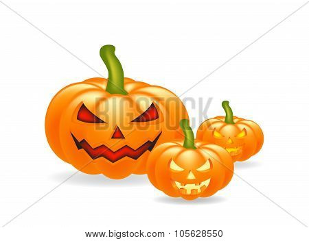 Halloween Cartoon, Symbols Composition. Vector Objects Arrangement With Pumpkins, Vector Collage Of