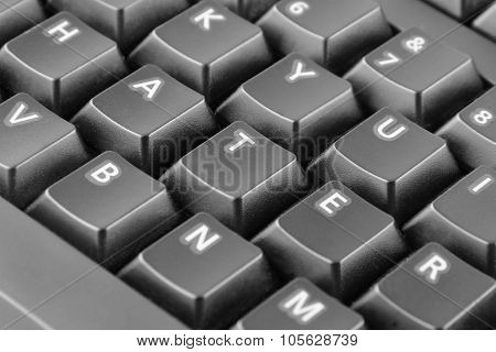 Word Hater Written With Grey Keyboard Buttons