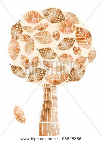 Autumn Abstract Tree With Falling Leaf Isolated On White.