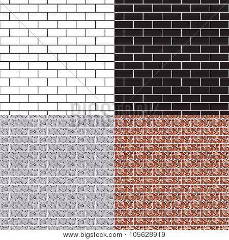 Brickwork seamless pattern set