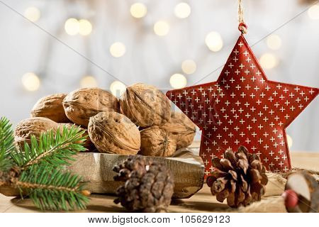 Walnuts with christmas tree