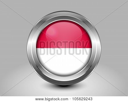 Flag Of Indonesia. Metal Round Icon