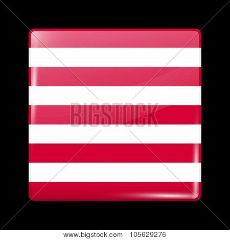 Indonesia Variant Flag Naval Ensign. Glassy Icon Square Shape