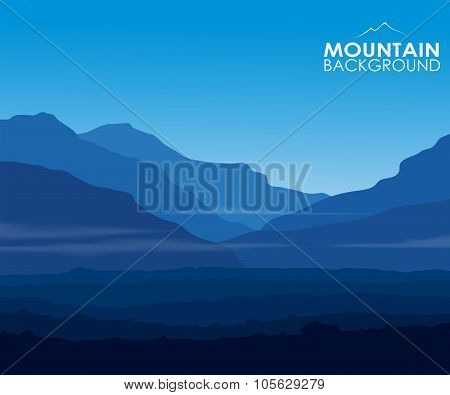 Landscape with huge blue mountains