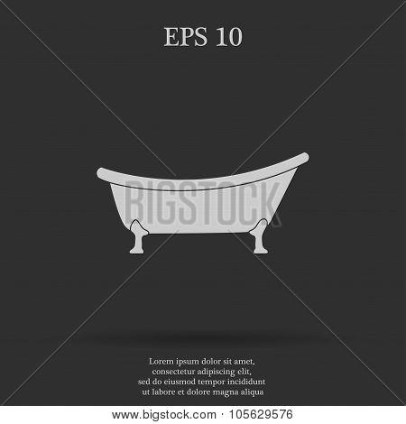 Bathtub Icon Flat Design Style
