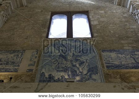 Blue Azulejos Tile Decoration Inside Carmo Convent