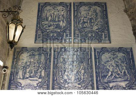 Blue Azulejos Tile Decoration Inside Carmo Convent In Lisbon