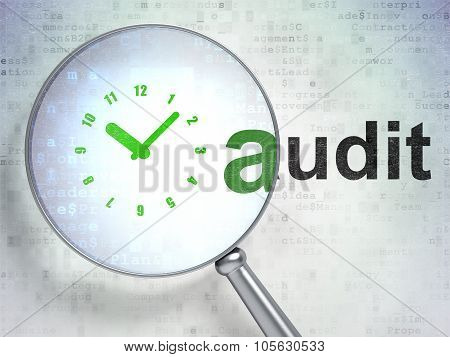 Business concept: Clock and Audit with optical glass