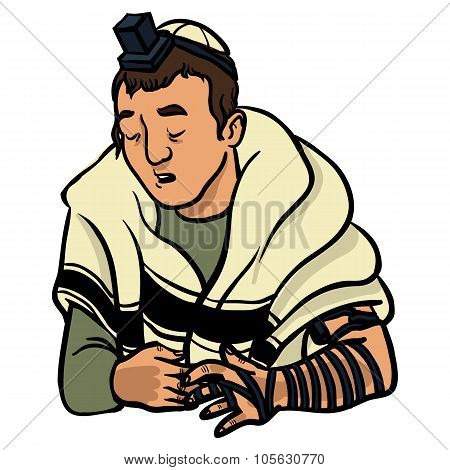Jewish Man Praying And Put On Tfilin. Vector Illustration