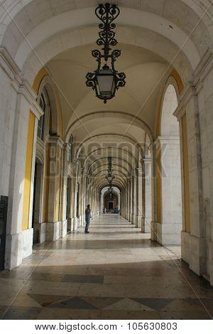The Hallway Under Rua Augusta Triumphal Arch In Lisbon