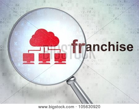 Business concept: Cloud Network and Franchise with optical glass