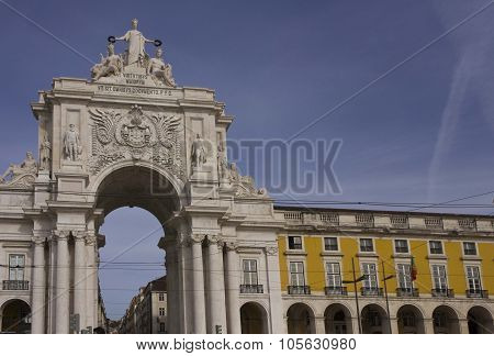 Rua Augusta Arch And Colonnade In Lisbon