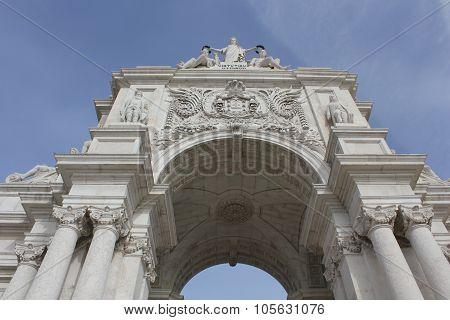 Rua Augusta Triumphal Arch In Lisbon