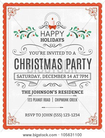 White Christmas Party Invitation With A Red Frame