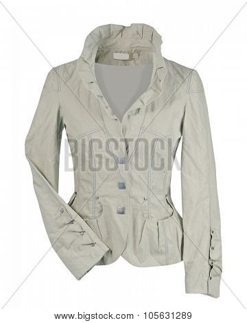 gray woman jacket isolated on white