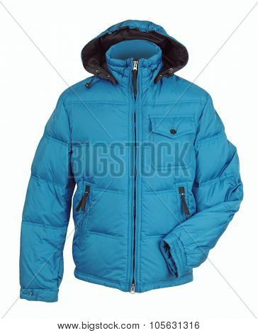 blue winter jacket isolated on white