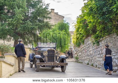 The Durrells: October 20, 2015. Filming of the Durrels ITV TV series in Corfu island Greece  staring Alexis Georgoulis and Keeley Hawes