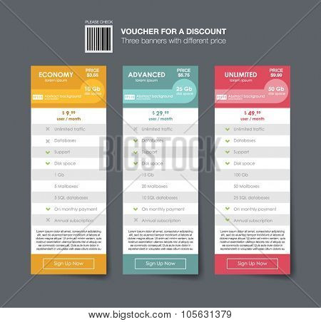 Vector Price table for commercial web services. Set of vector pricing table in flat design style for websites and applications. three tariffs. interface for the site. vector banner