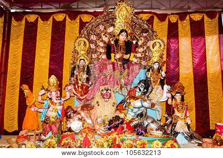 Statue of Goddess Durga Devi during navaratri puja & festival in India