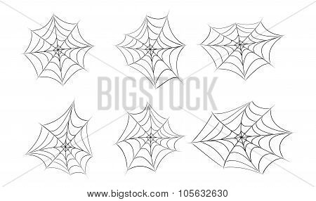 Halloween Spider Web, Cobweb Symbol, Icon Set. Vector Illustration Isolated On White Background.