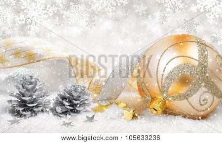 Christmas Ornaments In Beautiful Snow