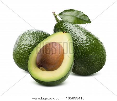 Green Avocado And Cut Half Isolated On White Background