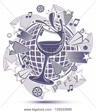 Celebrative Grayscale Leisure Backdrop With Musical Notes And Salute - Lounge Theme Poster. Glass Go