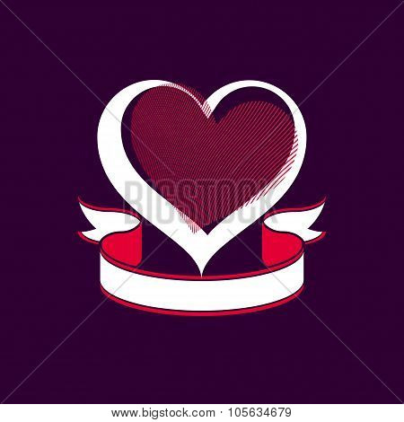 Valentine Day Conceptual Vector Art Illustration, Loving Heart With Decorative Ribbon Placed Over
