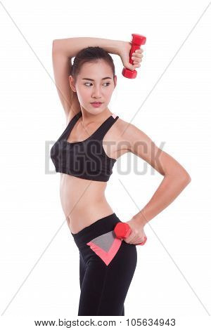 port woman doing exercise with lifting weights