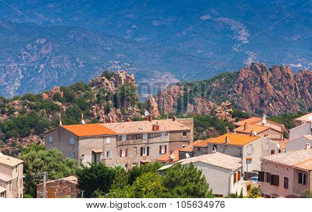Small Corsican Village Cityscape, Old Living House